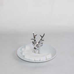 RP Teller weiss mit Silberhirsch 15 cm