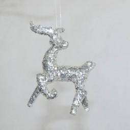 Silberhirsch m. Glitter 8 x 6,5 cm