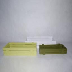 Holzkisten rechteckig 3tgl. grün/weiss