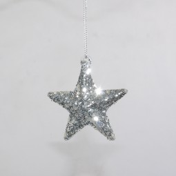 Silberstern m. Glitter d= 6 cm