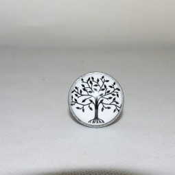Türknopf Baum m. Silberrand