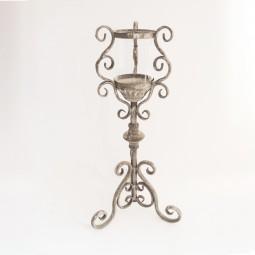 Kerzenhalter m. 3 Beinen u. Glas klein antikgrau