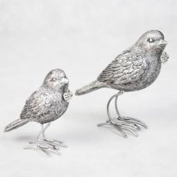 stehender Vogel SILBER klein