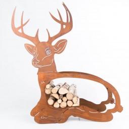Holzregal liegender Hirsch riesig Rost