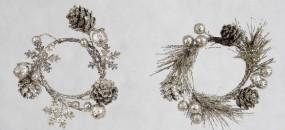 Minikranz SILBER Perlen/ Zapfen d= 5,8 cm