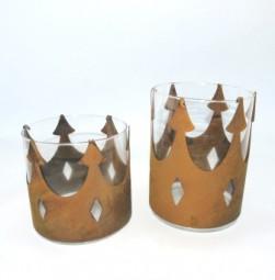 Windlicht Krone gross inkl. Glas 20007