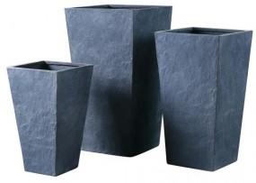 Zementtopf GRAU 3-tlg., quadratisch konisch