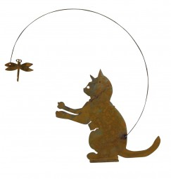 sitzende Katze m. Wipplibelle, h= 27 cm