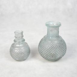 RP Glasflasche/ - Vase gross bauchig HELLBL