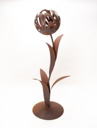 Tulpe gross einfach auf Platte mit Blätter
