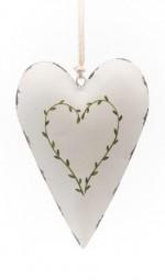langes Herz creme gross m. Verzierung Herz