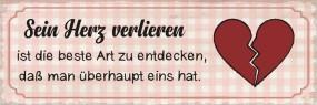 """Metallschild """"sein Herz verlieren"""", 30x10 cm"""