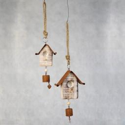 Holzvogelhaus m. Metalldach u. Glocke klein