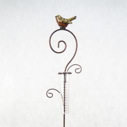 Regenmesser mit Keramikvogel