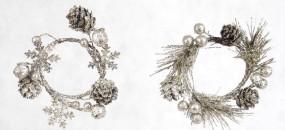 Minikranz SILBER Flocken/ Zapfen d=5,8 cm