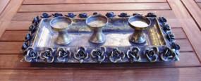 RP Kerzenhalter/ Tablett gold 3 Kerzen