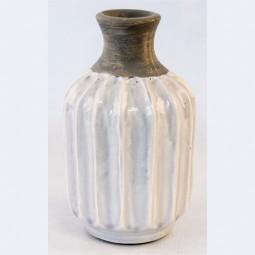 RP Vase gerade m. Rillen hellgrau