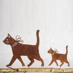 laufende Katze mit Masche kl.m.Dorn ROST